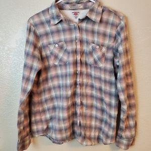 Maison Scotch Flannel Plaid Button Down Shirt